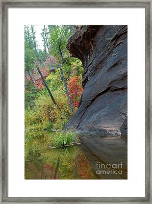 Fall Colors Peek Around Mountain Vertical Framed Print by Heather Kirk