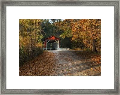 Fall Covered Bridge Framed Print