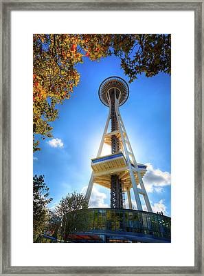 Fall Day At The Space Needle Framed Print by David Patterson