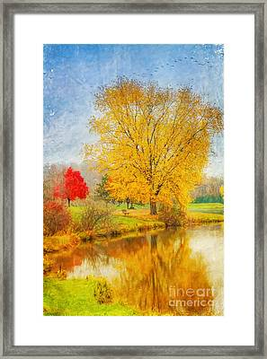 Fall Day On The Lake Framed Print by Randy Steele