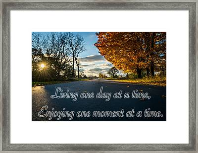 Fall Day With Saying Framed Print