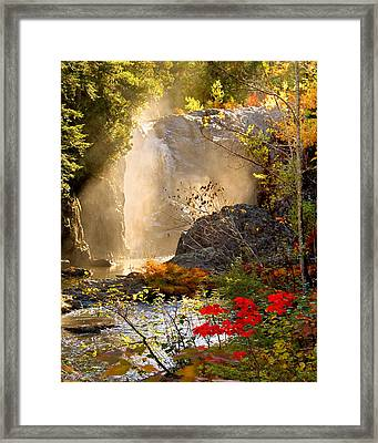 Fall Falls Mist  Dead River Falls  Marquette Mi Framed Print