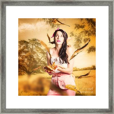 Fall Fashion Pinup Framed Print by Jorgo Photography - Wall Art Gallery