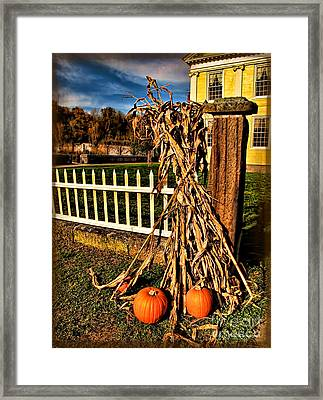 Fall Fence At Hale Farm Framed Print by Joan  Minchak