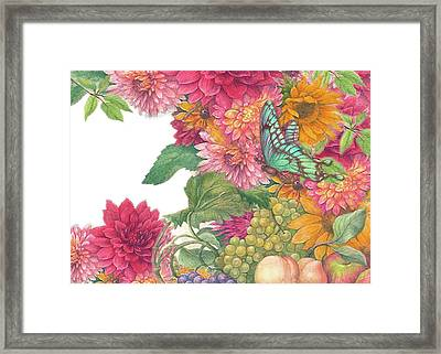 Fall Florals With Illustrated Butterfly Framed Print