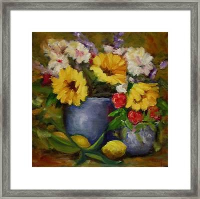 Fall Flower Still-life Framed Print by Linda Hiller