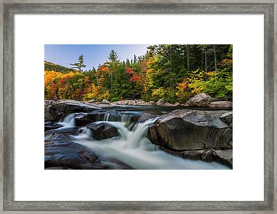 Fall Foliage Along Swift River In White Mountains New Hampshire  Framed Print
