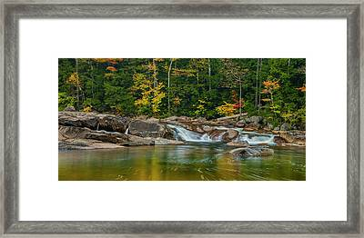 Fall Foliage In Autumn Along Swift River In New Hampshire Framed Print