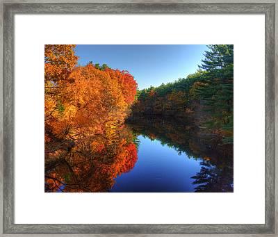 Fall Foliage River Reflections Framed Print by Joann Vitali
