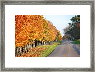 Fall In Horse Farm Country Framed Print