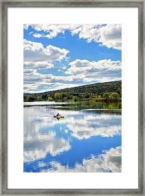 Fall Kayaking Reflection Landscape Framed Print by Christina Rollo