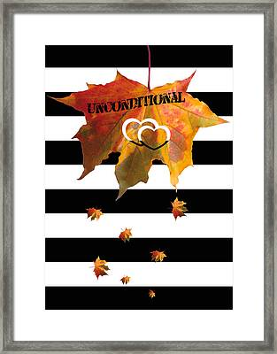 Fall Leaf Love Typography On Black And White Stripes Framed Print by Georgeta Blanaru