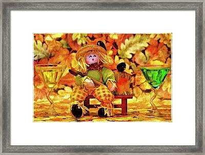 Fall Leaves And Drinks Framed Print by Geraldine Scull