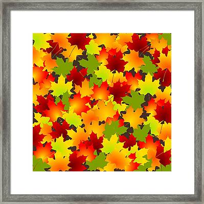 Fall Leaves Quilt Framed Print