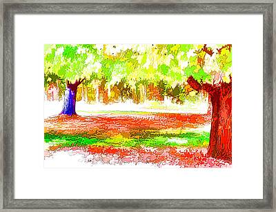 Fall Leaves Trees 2 Framed Print by Lanjee Chee