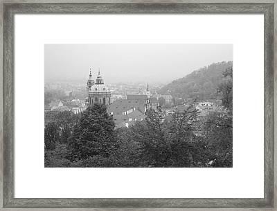 Fall Mist Surrounds St. Nicholas Church In Prague Framed Print by John Julio