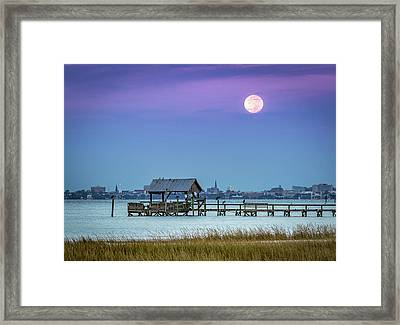 Fall Moon And King Tide - Charleston Sc Framed Print
