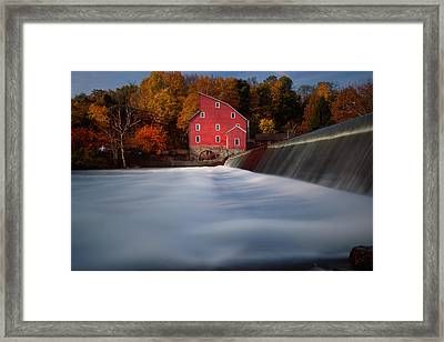 Fall Morning At The Historic Red Mill Framed Print by George Oze