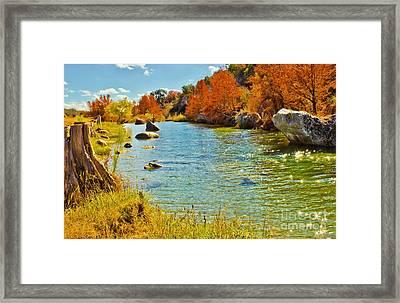 Fall On The Medina River Framed Print