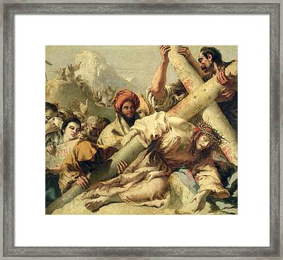 Fall On The Way To Calvary Framed Print by G Tiepolo