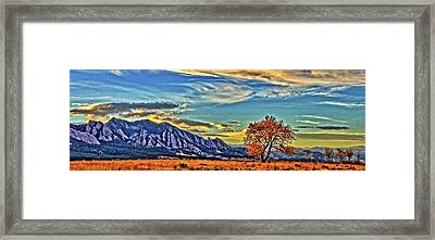 Framed Print featuring the photograph Fall Over The Flatirons by Scott Mahon