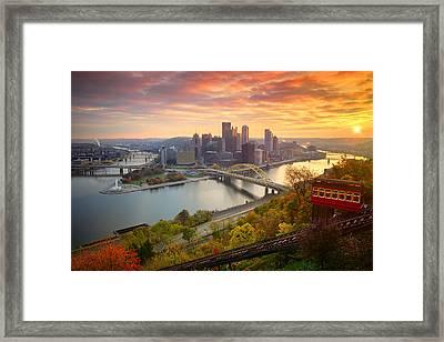 Fall Pittsburgh Skyline  Framed Print by Emmanuel Panagiotakis