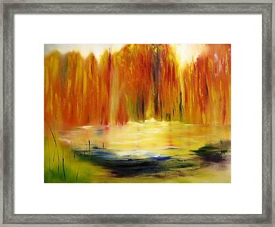 Fall Pond Framed Print by Larry Ney  II