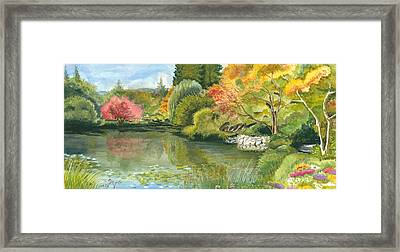 Fall Reflections Butchart Gardens Framed Print