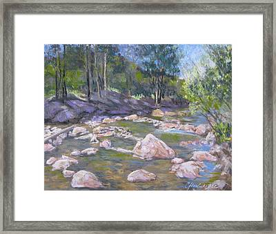 Fall River Trilogy 2 Framed Print by Carole Haslock