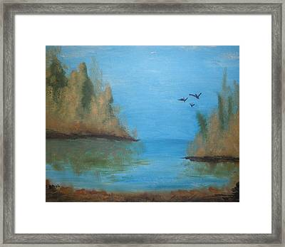 Framed Print featuring the painting Fall Scene by Betty-Anne McDonald