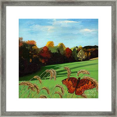 Fall Scene Of Ohio Nature Painting Framed Print by Linda Apple
