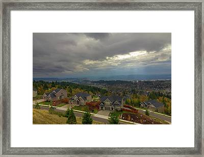 Fall Season In Happy Valley Oregon Framed Print by David Gn