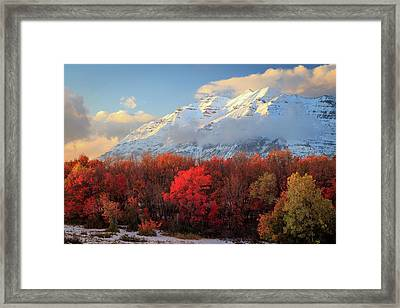 Framed Print featuring the photograph Fall Snow On Timpanogos. by Johnny Adolphson