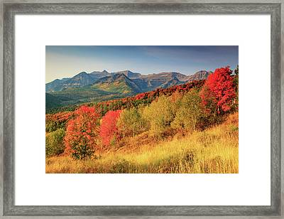 Framed Print featuring the photograph Fall Splendor With Mount Timpanogos. by Johnny Adolphson