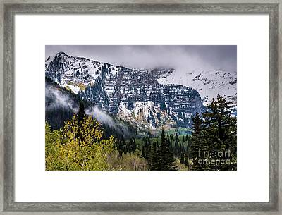 Framed Print featuring the photograph Fall Storm In Wasatch Mountains - Utah by Gary Whitton