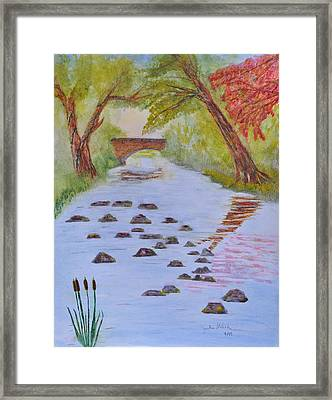 Fall Stream Land Scape Framed Print by Jonathan Galente