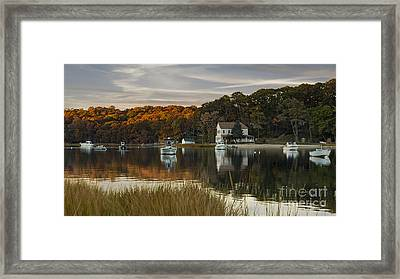 Fall Sunset In Centerport  Framed Print