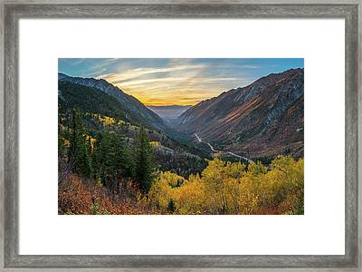 Fall Sunset In Little Cottonwood Canyon Framed Print