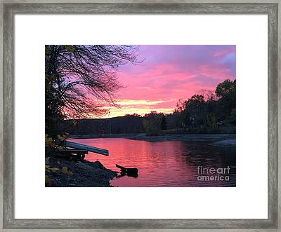 Fall Sunset On The Lake Framed Print by Jason Nicholas