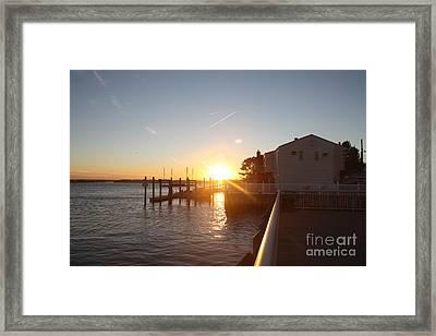 Fall Sunset Over Freeport Canal Framed Print by John Telfer