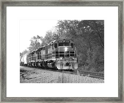 Fall Train In Black And White Framed Print
