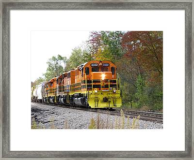 Fall Train In Color Framed Print