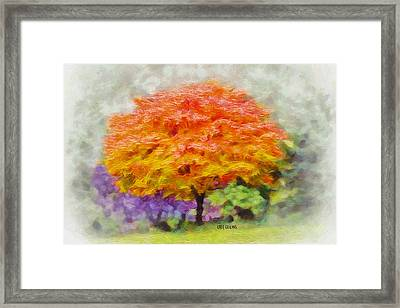 Framed Print featuring the painting Fall Tree by Greg Collins