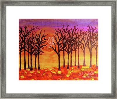 Fall Treeline At Sunset Framed Print by Desiree Paquette