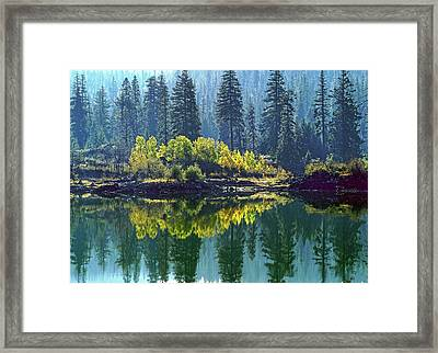 Fall Trees Reflected In Fish Lake Framed Print by Jim Nelson