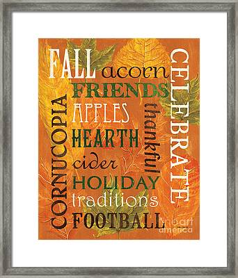 Fall Typography 2 Framed Print by Debbie DeWitt