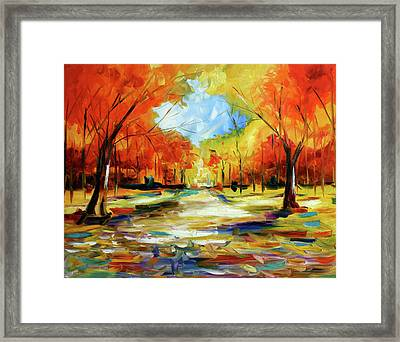 Fall Walk In The Trees Framed Print