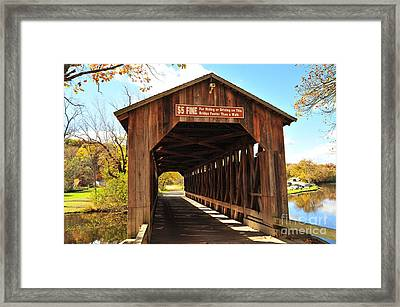 Fallasburg Covered Bridge 12 Framed Print by Terri Gostola