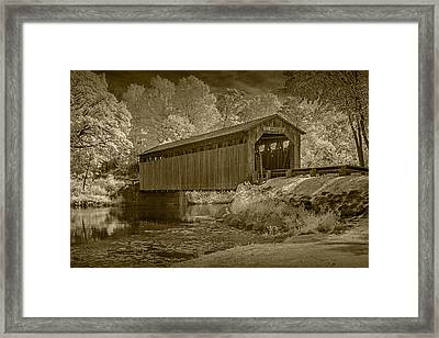 Fallasburg Covered Bridge In Infrared And Sepia Framed Print