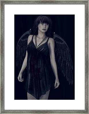 Framed Print featuring the painting Fallen Angel - Dark And Gothic by Maynard Ellis